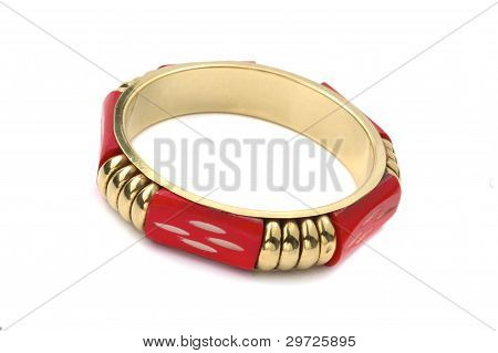 Red Bracelet With Golden Element Isolated On White