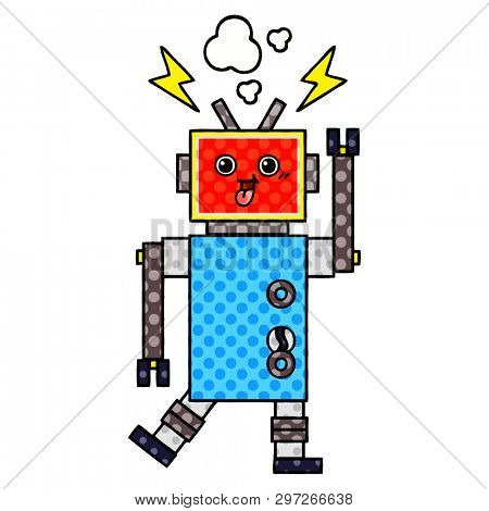 comic book style cartoon of a crazed robot