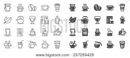 Coffee And Tea Line Icons. Set Of Cappuccino, Juice With Ice And Latte Coffee Cup Icons. Teapot, Cof