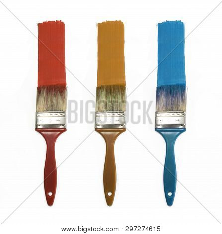 Set Of Three Color Brushes Isolated For Painting