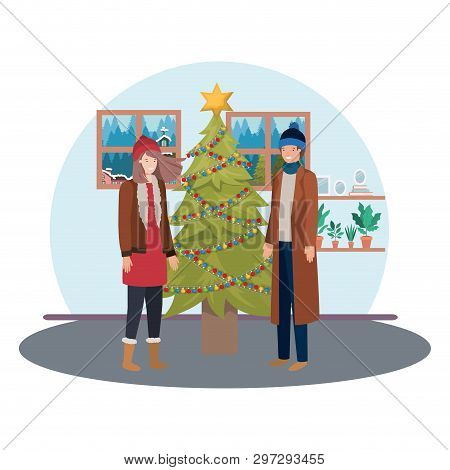 Couple With Christmas Tree In Livingroom Vector Illustration Desing