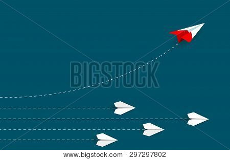 Red Paper Plane Changing Direction From White. New Idea. Different Business Concept. Courage To Risk