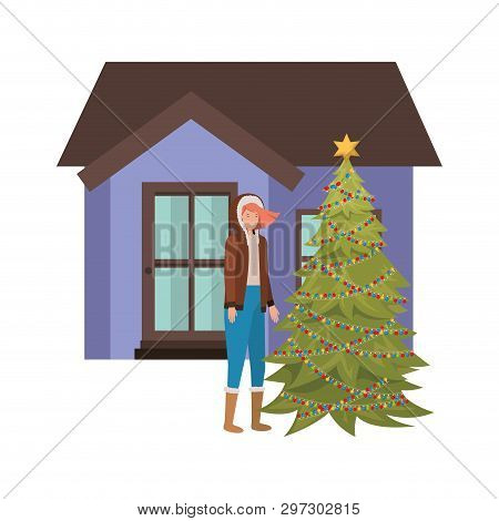 Woman With Christmas Tree Outside The House Vector Illustration Desing