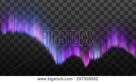 Realistic Northern Polaris Aurora Light Vector. Aurora Appear Diffuse Glow Or Curtains. Magnetic Mid