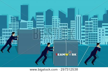 Teamwork Can Overcome Obstacle. Businessmen Help Push The Barriers Go To The Goal Of Financial Busin