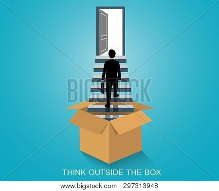 Think Outside The Box. Businessmen Walk Up The Stairs To The Door. Step Up The Ladder To Success Goa