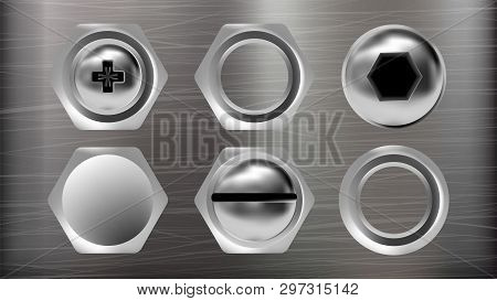 Realistic Metal Head Of Screw And Bolt Set Vector. Collection Of Different Ironware Type Detail Scre