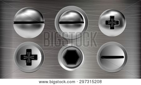 Several Metal Screws And Heads Of Bolts Set Vector. Realistic Chrome Screws, Nuts And Rivet Differen
