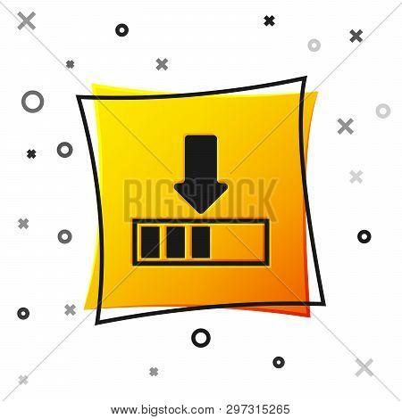Black Loading Icon Isolated On White Background. Download In Progress. Progress Bar Icon. Yellow Squ