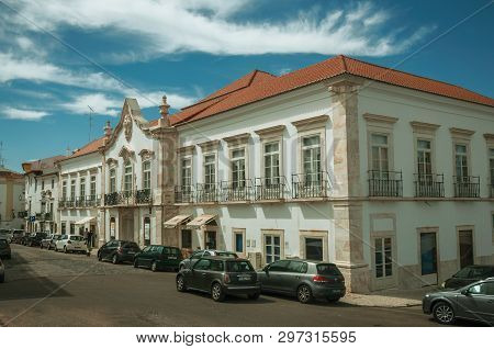 Estremoz, Portugal - July 06, 2018. Old building with marble details and baroque decor in a street of Estremoz. A nice little historic town with several buildings made of marble on eastern Portugal.
