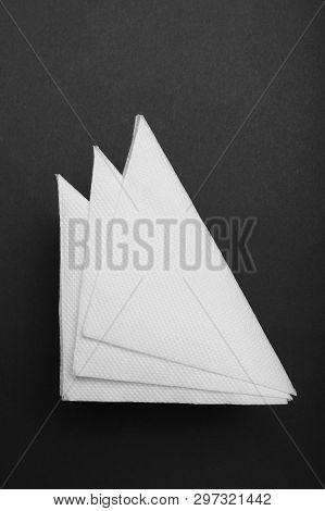 Drink Bar Serviette Paper Napkin Mockup. Black Background