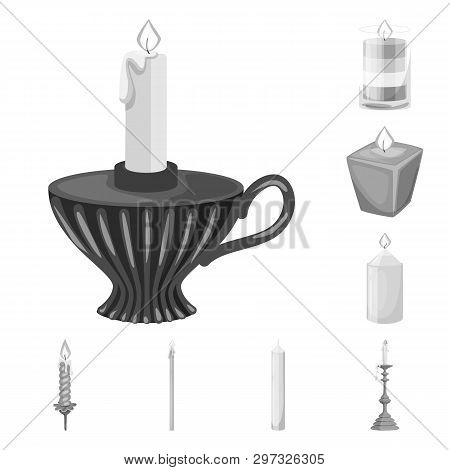 Vector Design Of Paraffin And Fire  Sign. Set Of Paraffin And Decoration    Vector Icon For Stock.