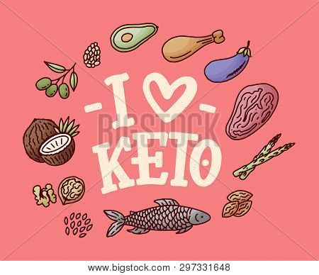 Sketch Lettering With Green Keto Diet Doodle Elements For Concept Design. Hand Drawn Illustration. F