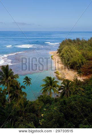 Vertical image of Kee beach from Kalalau trail on Na Pali coast of Kauai poster