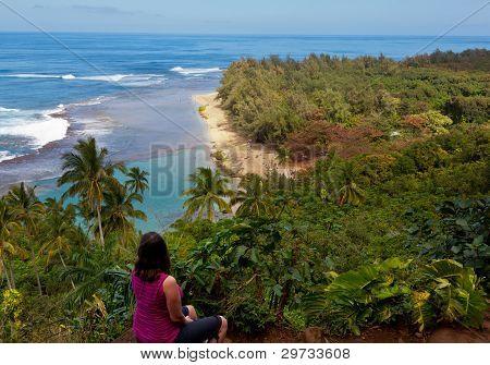 Ke'e Beach On Kauai From Trail