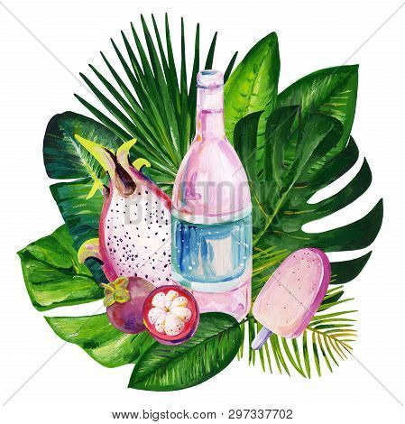 Gouache Summer Clipart With Tropic Leaves, Exotic Fruits And Sweets 1. Clipart For Art Work And Wedd