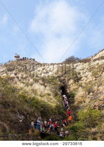 Tourists Walking To Top Of Waikiki Crater
