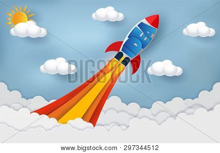 Space Shuttle Launch To The Sky. Start Up Business Finance Concept. Competing For Success And Corpor