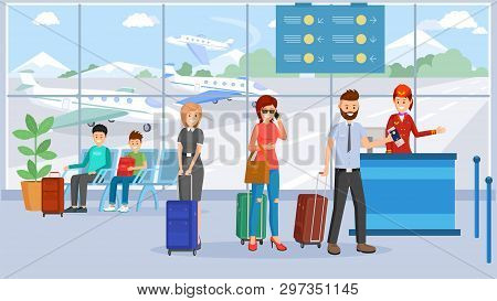 Passengers In Airport Terminal Vector Illustration. Cartoon Characters With Luggage Waiting In Queue