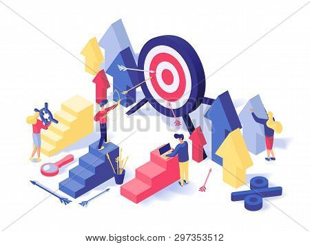 Customer Attraction Strategy Isometric Illustration. Targeting Advertising Settings, Sales Growth, T