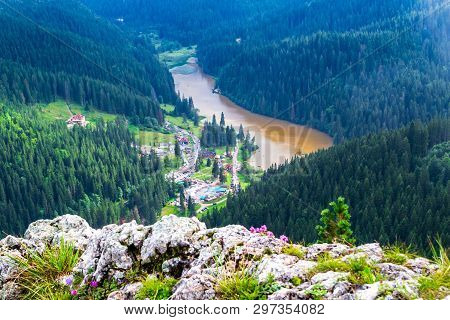Red Lake (lacu Rosu) In Bicaz Gorge (cheile Bicazului), Neamt County, Romania, As Seen From Above, F