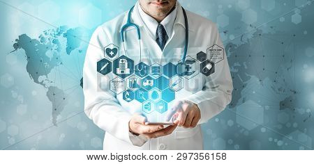 poster of Medical Healthcare Research and Development Concept. Doctor in hospital lab with science health research icon show symbol of medical care technology innovation, medicine discovery and healthcare data.