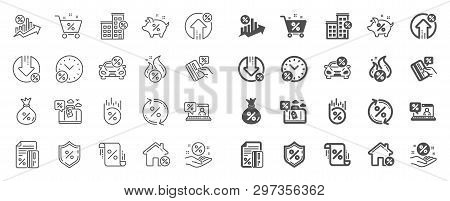 Loan Line Icons. Set Of Investment, Interest Rate And Percentage Diagram Linear Icons. Car Leasing,