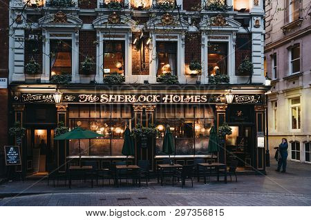 London, Uk - April 13, 2019: Facade Of Sherlock Holmes Pub In London, A Traditional English Pub With