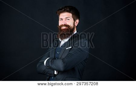 Happy Brutal Caucasian Hipster With Moustache. Male Formal Fashion. Stylish Event Manager. Businessm