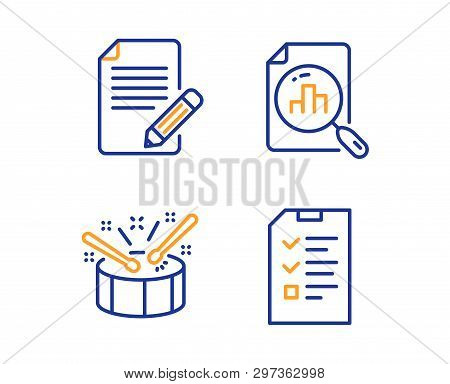 Article, Analytics Graph And Drums Icons Simple Set. Interview Sign. Feedback, Chart Report, Drumsti