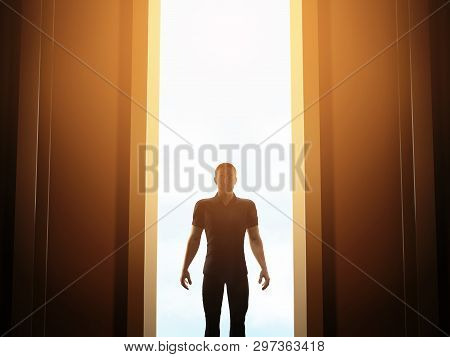 Man Standing In Front Of Mysterious Open Door About To Take A First Step Into The Unknown, 3d Render