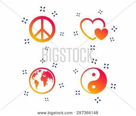 World Globe Icon. Ying Yang Sign. Hearts Love Sign. Peace Hope. Harmony And Balance Symbol. Random D