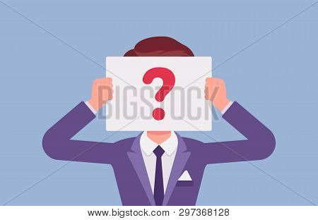 Anonymous Man With Question Mark. Male Person Not Identified By Name, Unknown Faceless User, Incogni