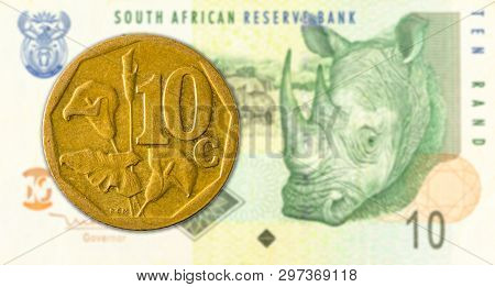 10 South African Aforika Coin Against 10 South African Rand Banknote