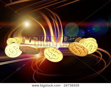 Interplay of golden dollar coins and dynamic swirls and lights on the subject of finance money business and commerce poster