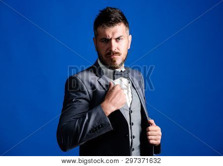 Businessman Formal Outfit. Classic Style Aesthetic. Perfect Suit Fit Him. Menswear Shop. Man Adjust
