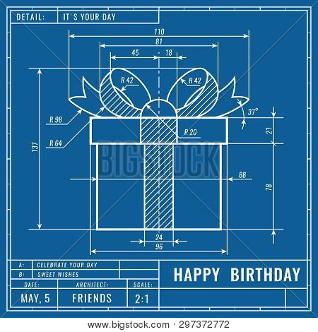Gift Box As Technical Blueprint Drawing. Birthday Technical Concept. Mechanical Engineering Drawings