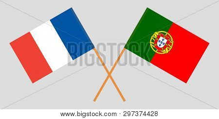 Portugal and France. The Portuguese and  French flags. Official colors. Correct proportion. Vector illustration poster