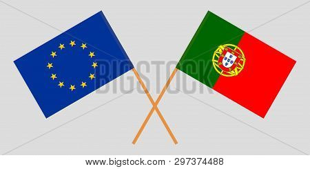 Portugal And Eu. The Portuguese And European Flags. Official Colors. Correct Proportion. Vector Illu