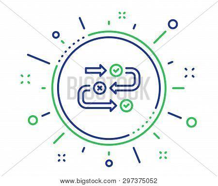 Survey Progress Line Icon. Quiz Algorithm Sign. Business Interview Symbol. Quality Design Elements.