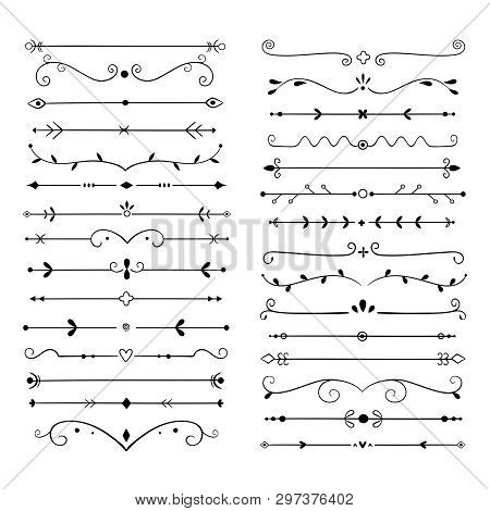 Ornament Dividers. Text Line Vintage Design Element, Wedding Decoration Separators. Retro Drawn Book