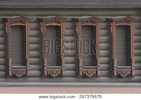 Wooden Windows On An Old Wooden House. Wooden Windows On An Old Wooden
