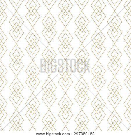 Vector Golden Lines Texture. Luxury Geometric Seamless Pattern With Diamonds, Rhombuses, Thin Crossi
