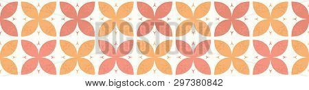 Stylised Abstract Orange Coral Flowers. Hand Drawn Seamless Vector Border Illustration.