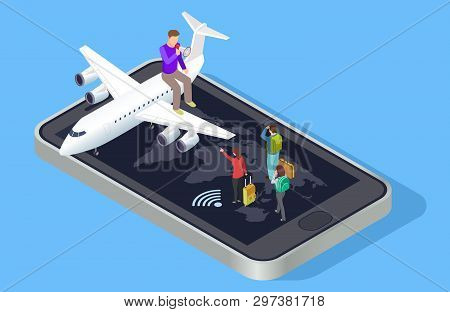 Travel Manager Invites To Travel Vector Concept. Isometric Online Travel Booking Concept. Illustrati