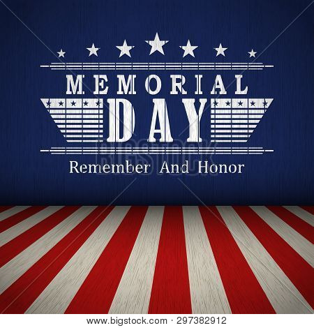 Memorial Day Background With Us National Flag, Stars And Stripes. Template For Memorial Day Invitati