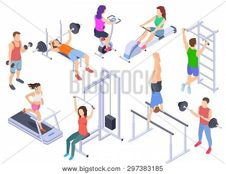 Gym Isometric. Fitness People Training, Physical Workout Exercise. Young Human Coach, Sports Equipme