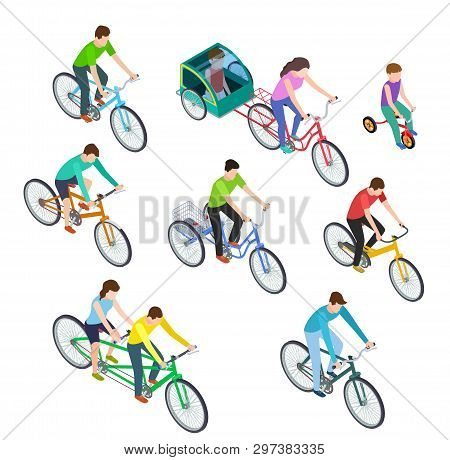 Isometric People Bike. Man Woman Riding Bikes Outdoor, Bicyclists. Active Family Biking. Cyclist Bic