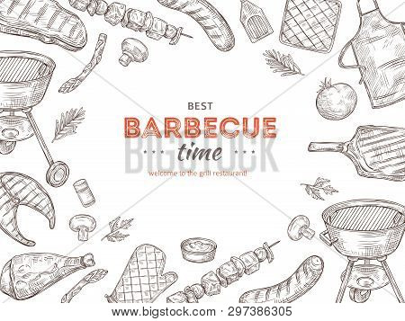 Vintage Bbq Poster. Barbeque Doodle Grill Chicken Barbecue Grilled Vegetables Fried Steak Meat Picni