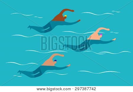 Open Water Swimming Competitions - Mens Group Swimming Vector Illustration. Men Swimming, Swimmer Ac